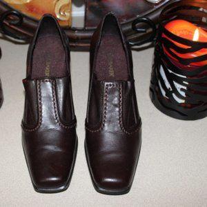 Liz Baker Brown Wood Heeled Squared Toe Shoes